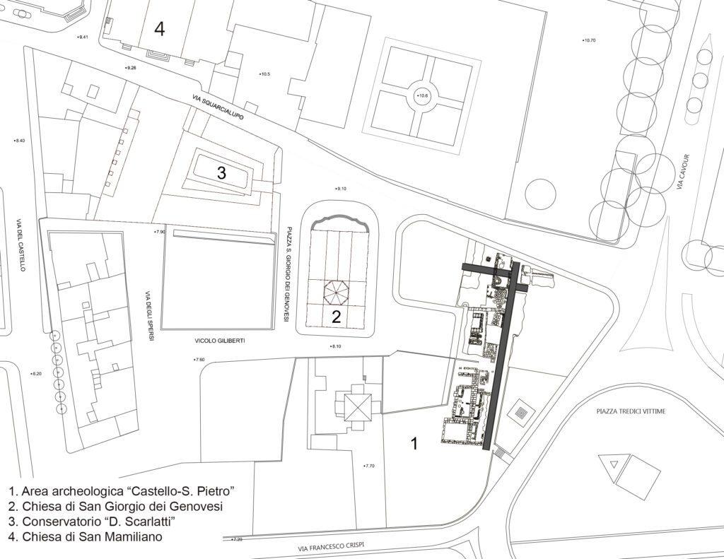 San Giorgio dei Genovesi - Planimetria del contesto della chiesa