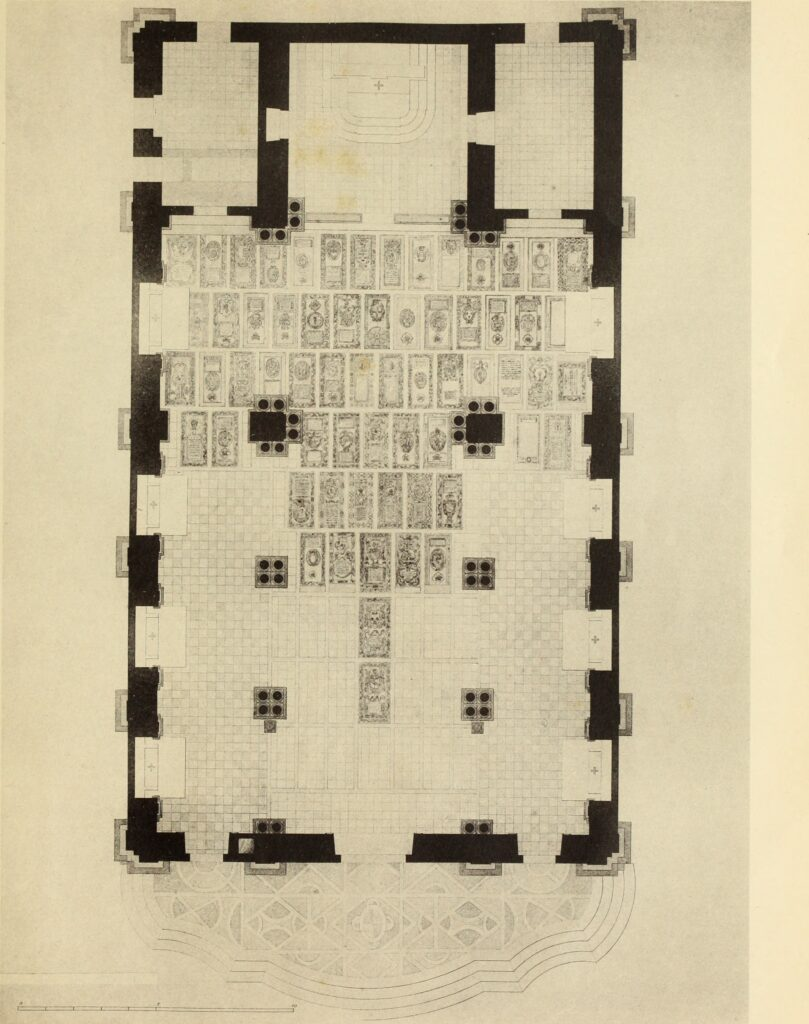 San Giorgio dei Genovesi - Disegno della pianta con le lapidi sepolcrali (da Paterna, Baldizzi, 1904)