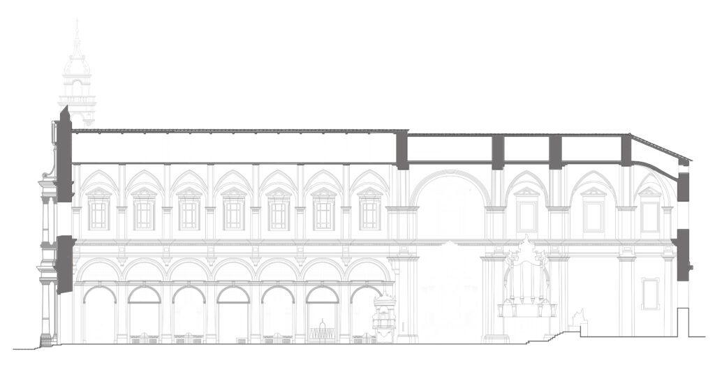 Complesso di San Domenico - Sezione longitudinale della chiesa