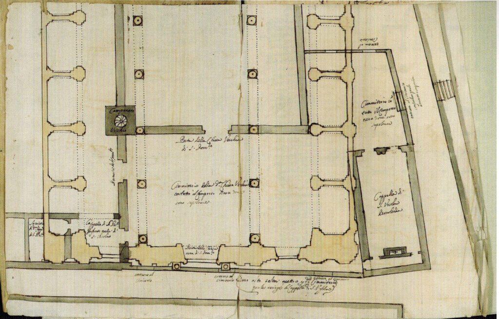 Complesso di San Domenico - Andrea Cirrincione, Pianta parziale della vecchia e della nuova chiesa di S. Domenico, 1666, conservata presso l'Archivio di Stato di Palermo