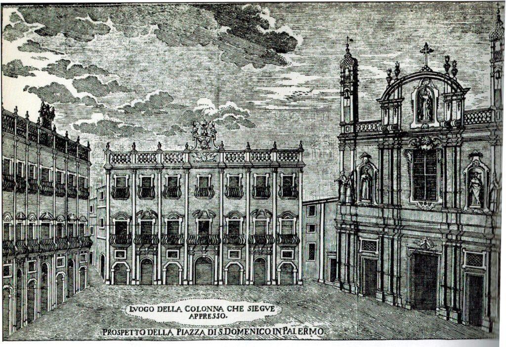 Complesso di San Domenico - Prospetto della piazza di San Domenico in Palermo, incisione di Arcangelo Leanti, 1761