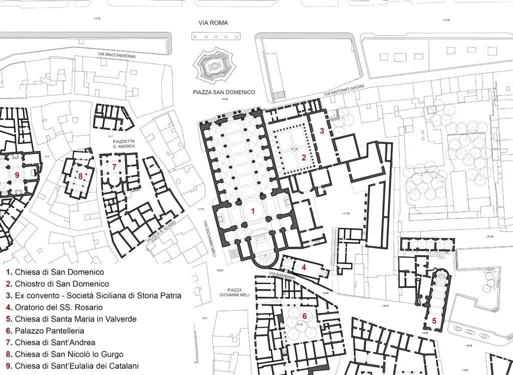 Complesso di San Domenico - Planimetria del contesto del complesso di San Domenico