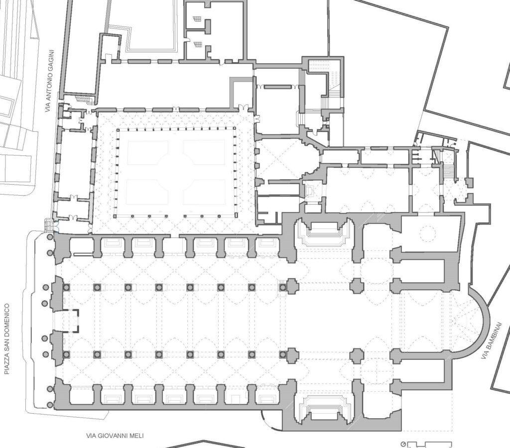 Complesso di San Domenico - Pianta della chiesa, del chiostro e del convento