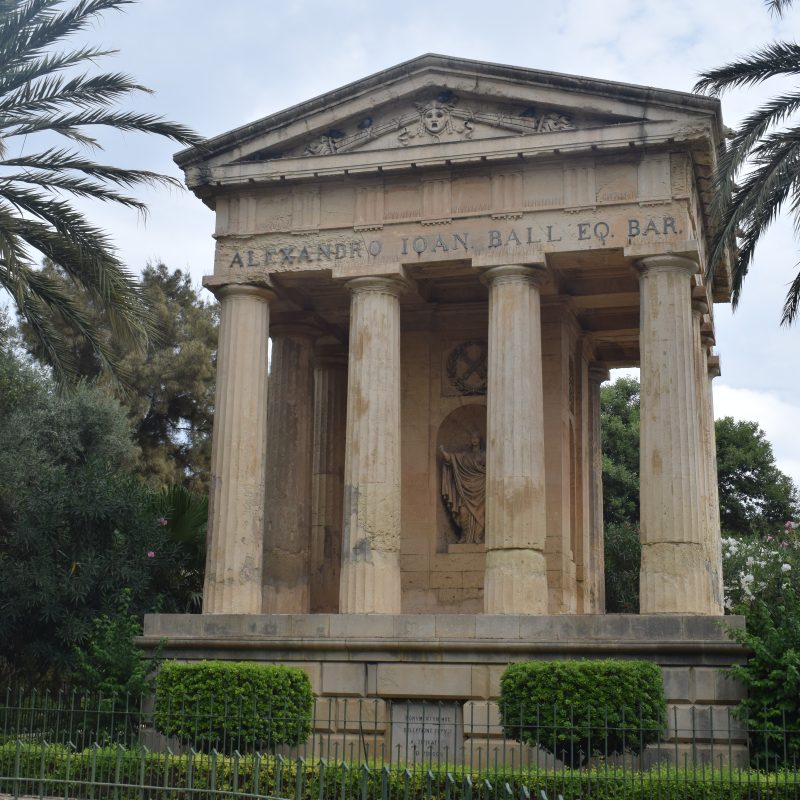 The monument to Alexander Ball, built in 1810, dominates the garden.
